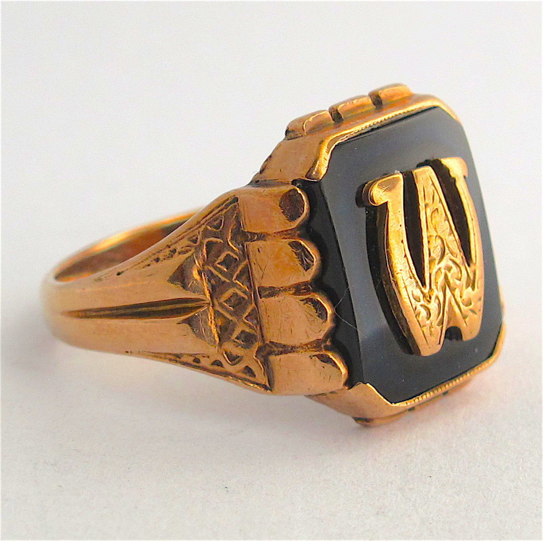 9ct rose gold vintage onyx initial signet ring image 1