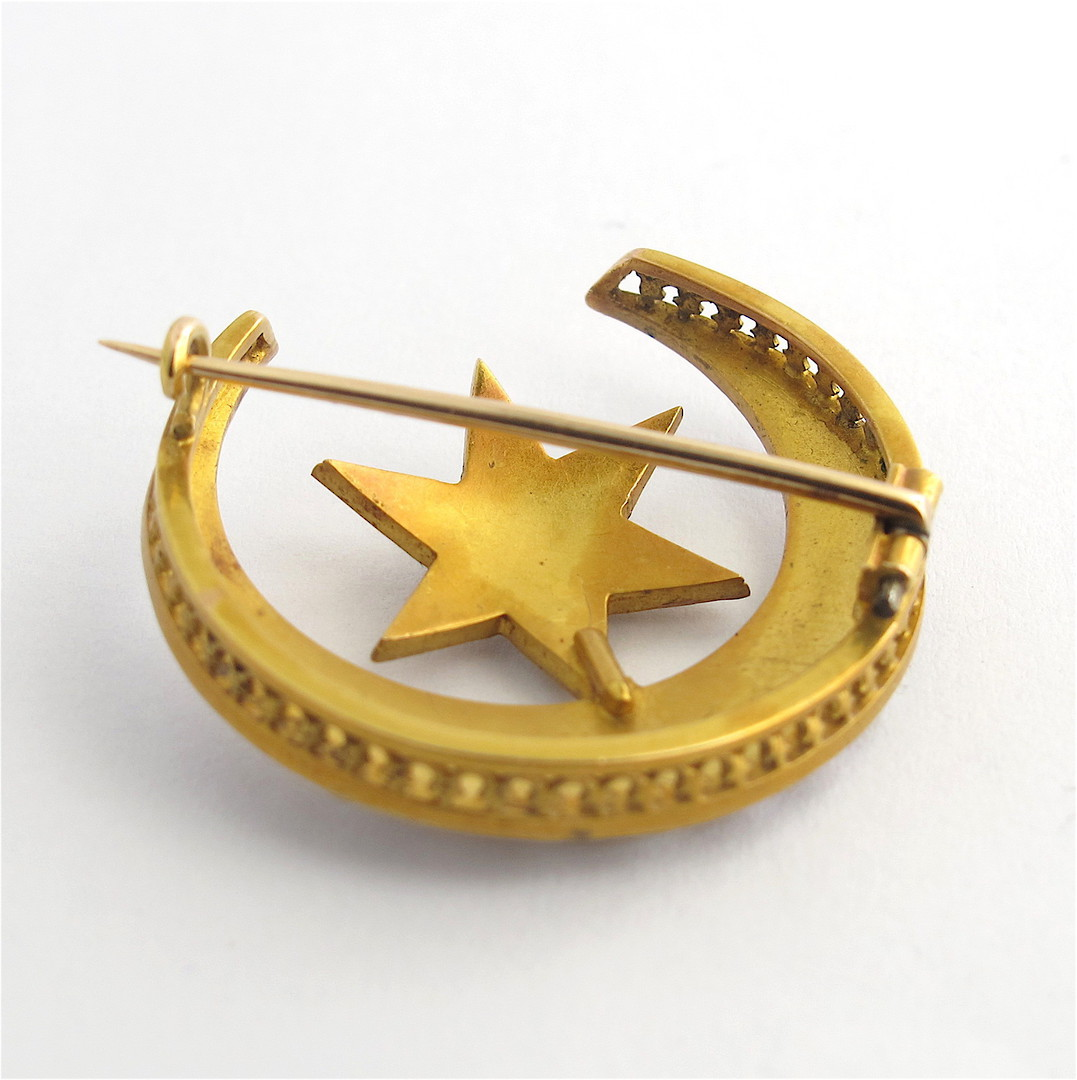 9ct yellow gold antique seed pearl star & crescent brooch image 1
