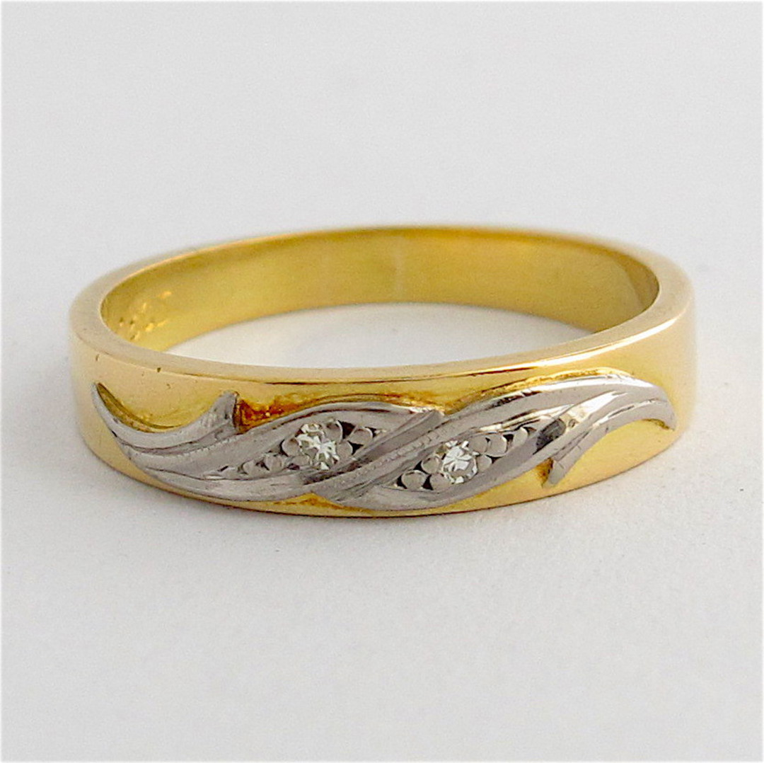 18ct yellow gold & rhodium plated diamond band image 0