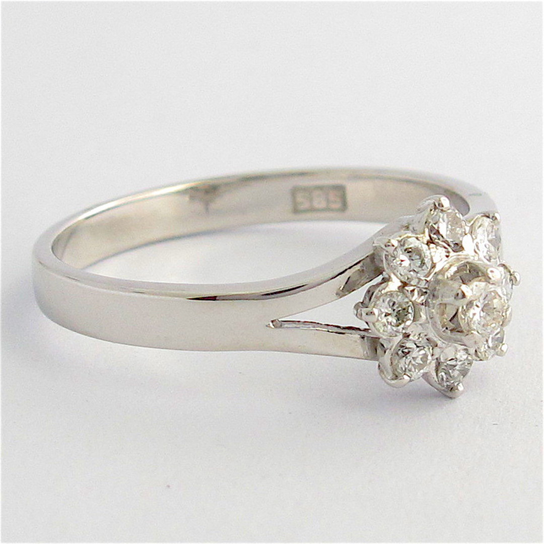 14ct white gold 'flower design' diamond ring image 1