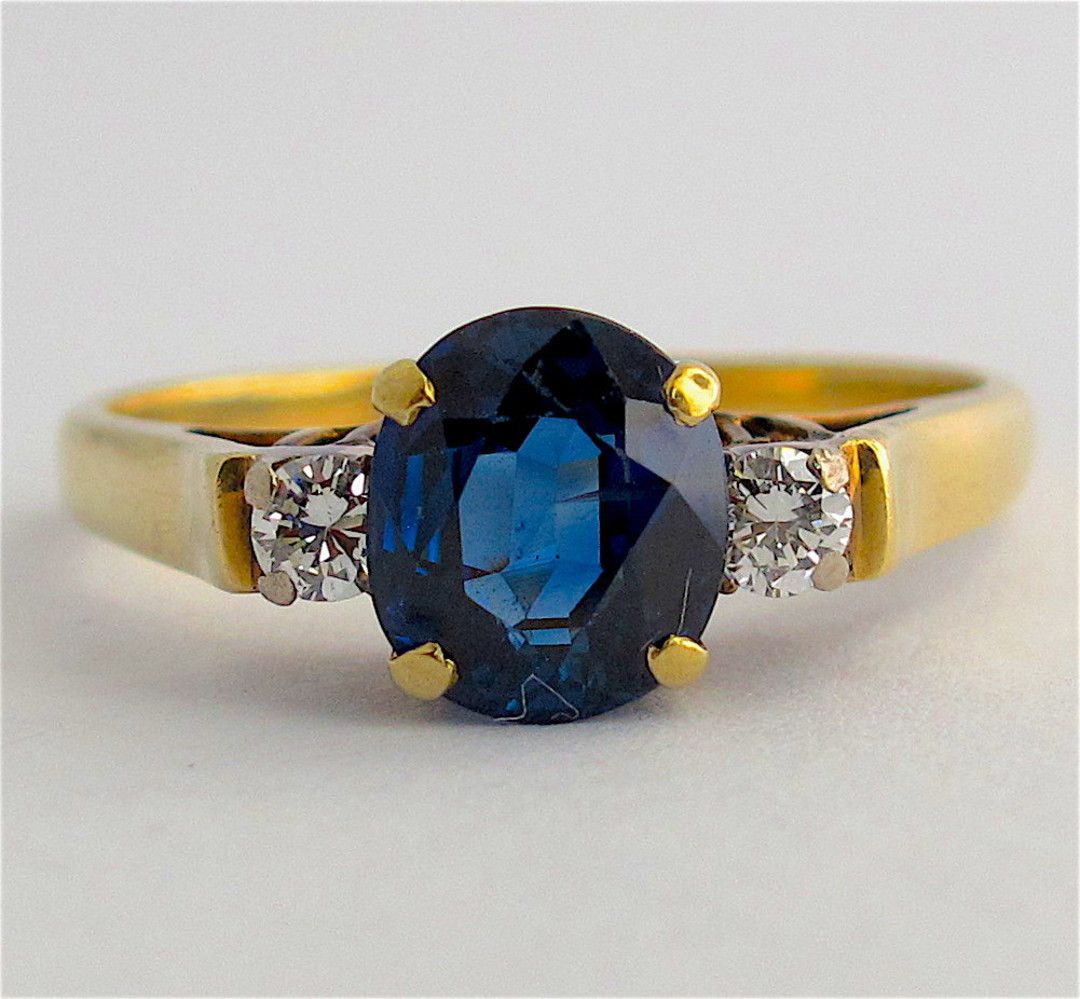 18ct yellow and white gold natural blue sapphire and diamond ring image 0