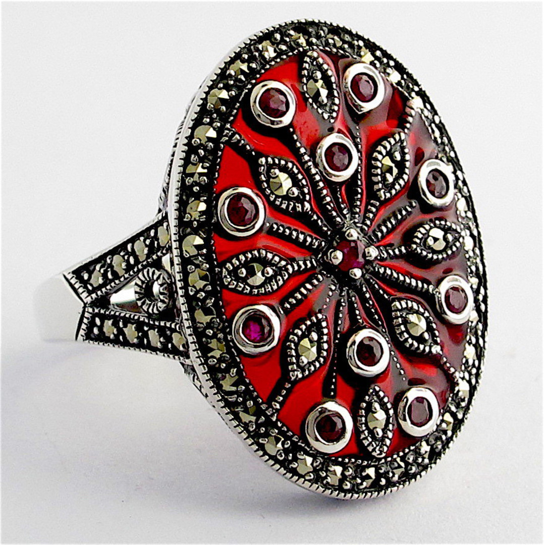Sterling silver ruby and red enamel and marcasite ring image 1