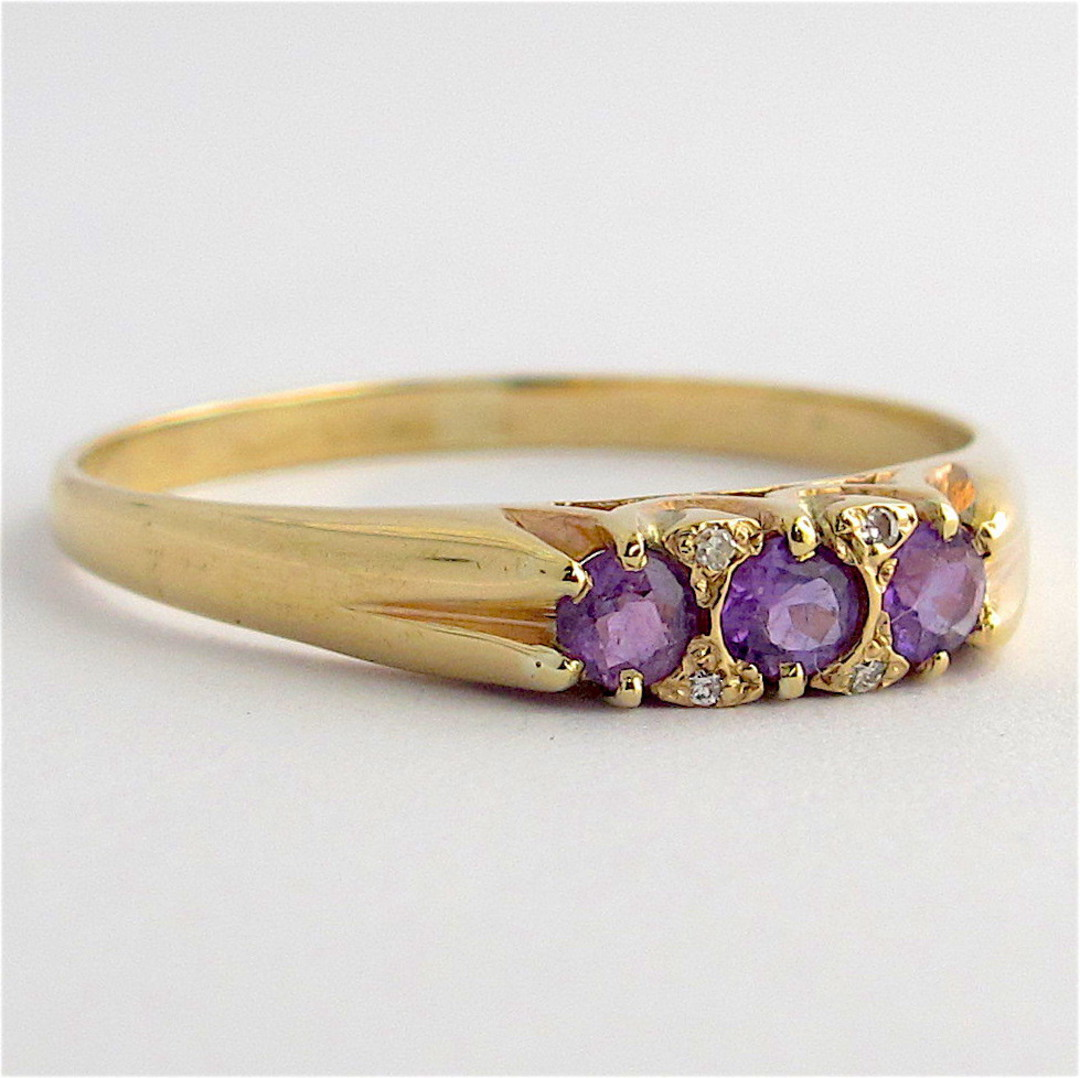 9ct yellow gold amethyst and diamond dress ring image 1