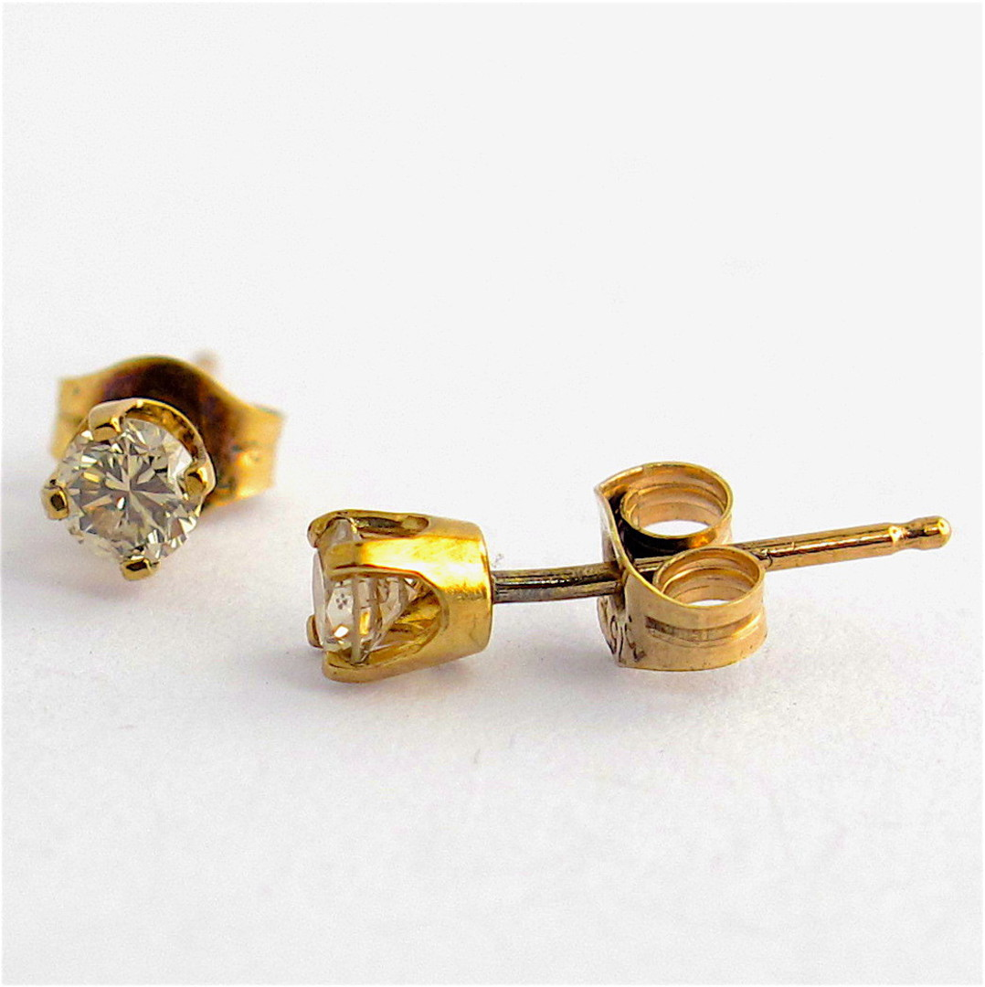 9ct yellow gold diamond solitaire stud earrings image 0