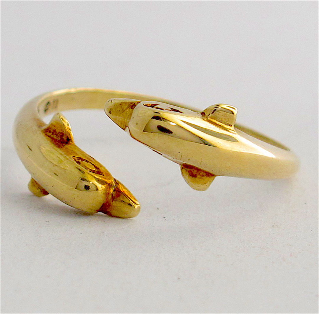 14ct gold twin dolphin ring image 0