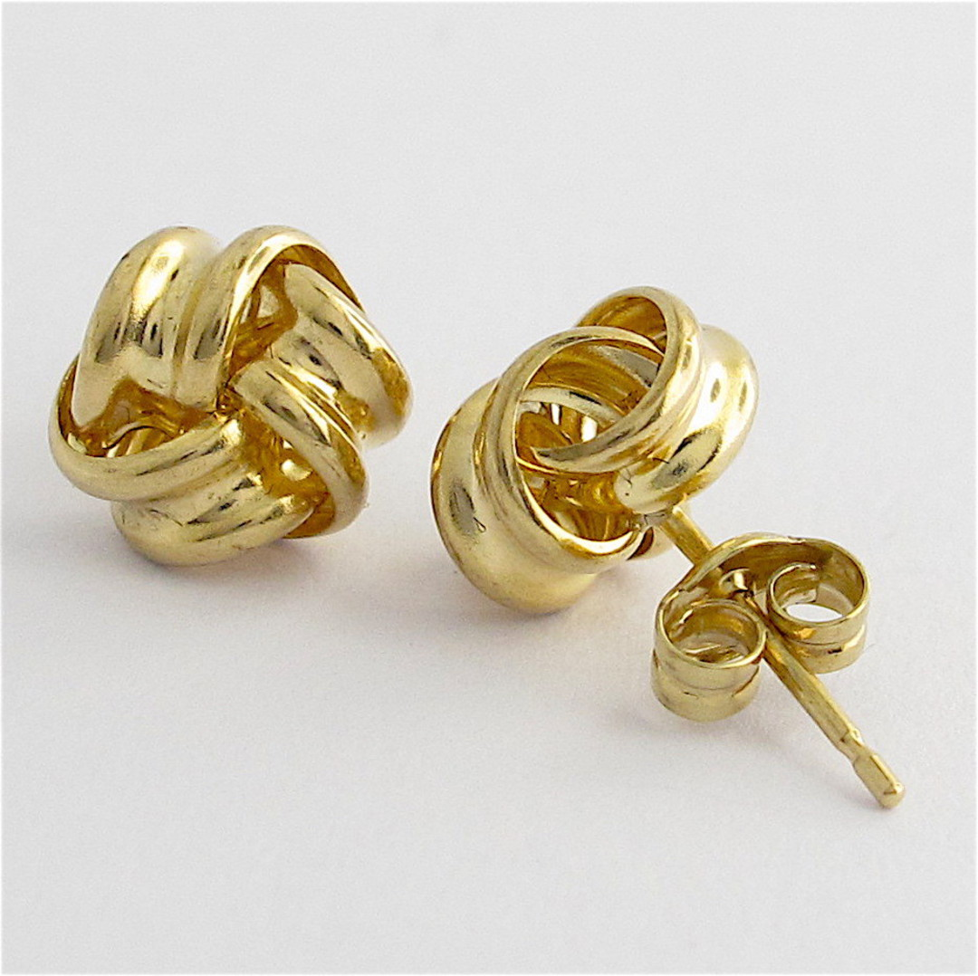 9ct yellow gold knot style stud earrings image 1