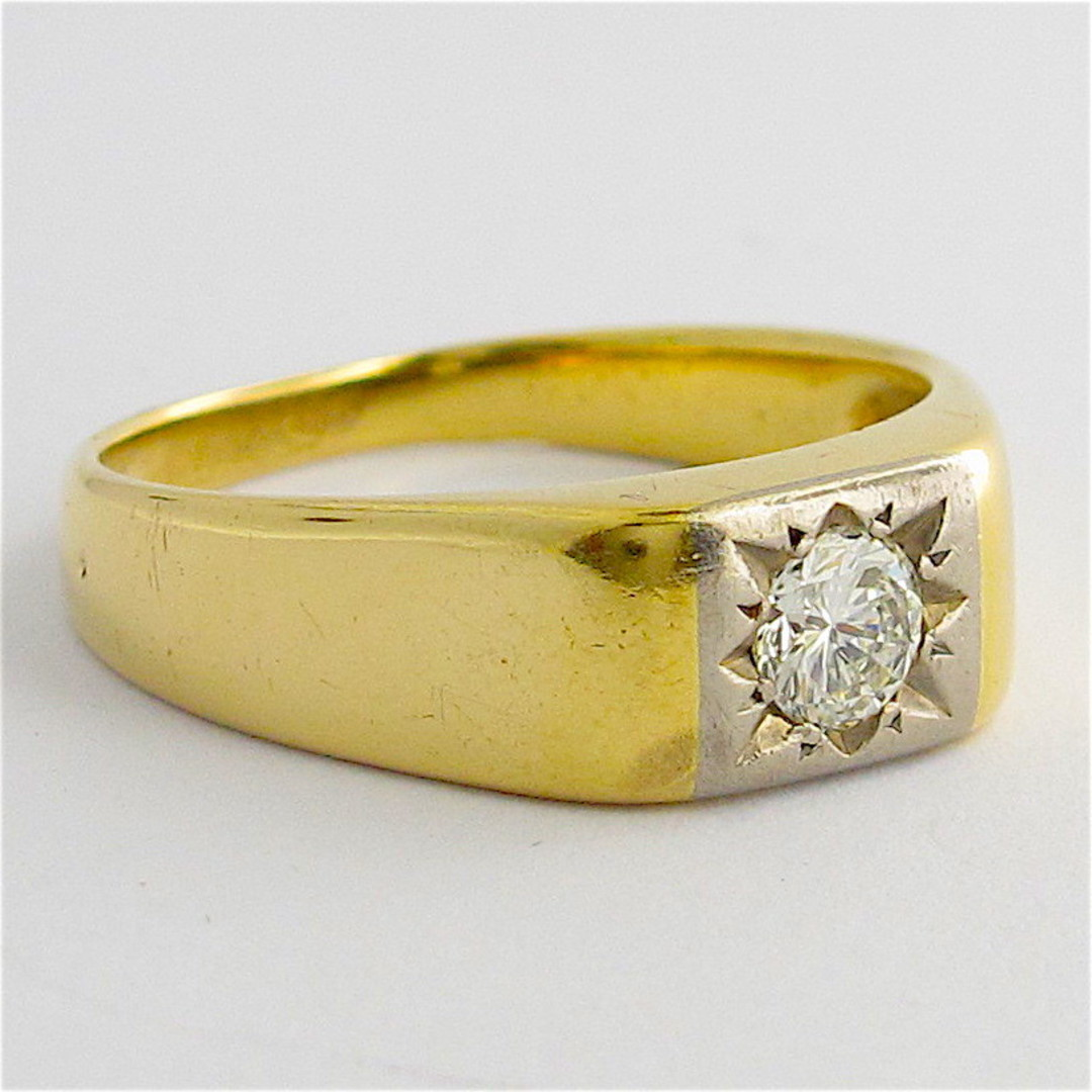 18ct yellow and white gold gents diamond set ring image 1