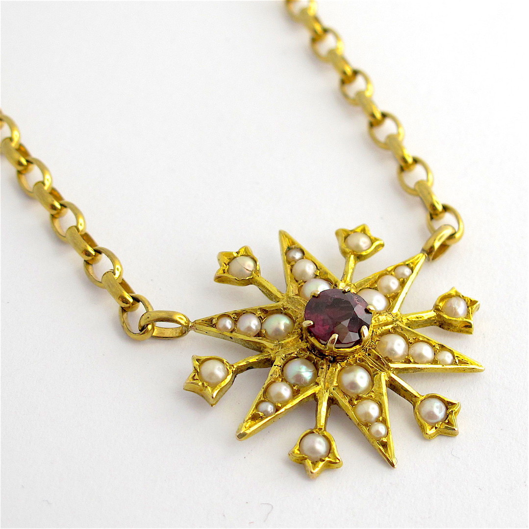 9ct yellow gold antique rhodolite garnet and seed pearl necklace image 0