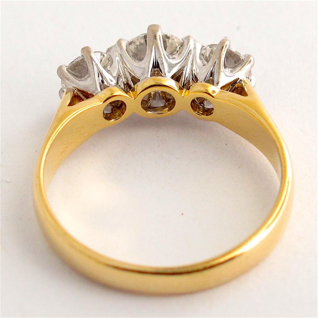 18ct yellow and white gold 3 stone diamond ring image 1