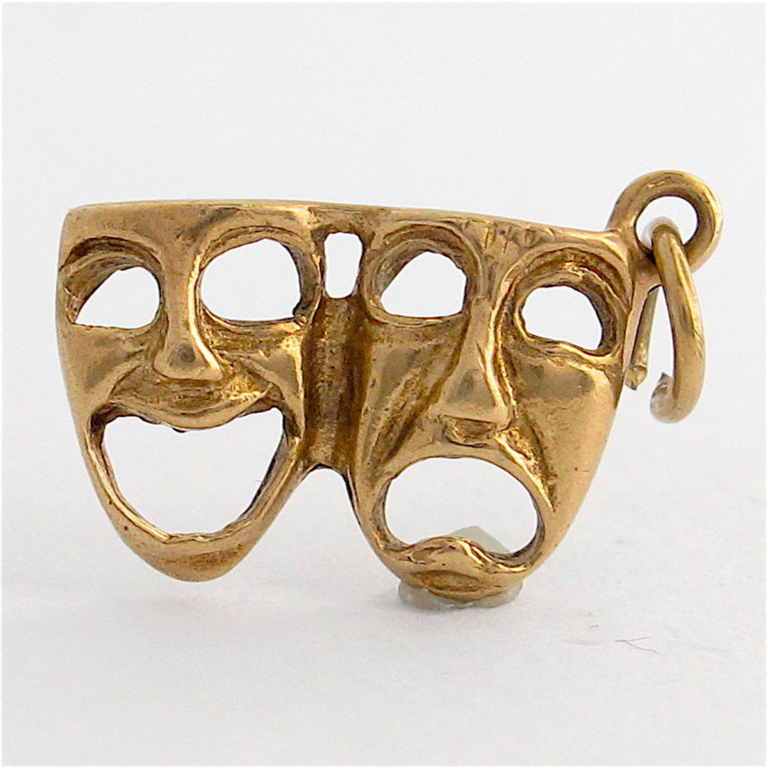 9ct yellow gold Sad and happy face mask charm image 0