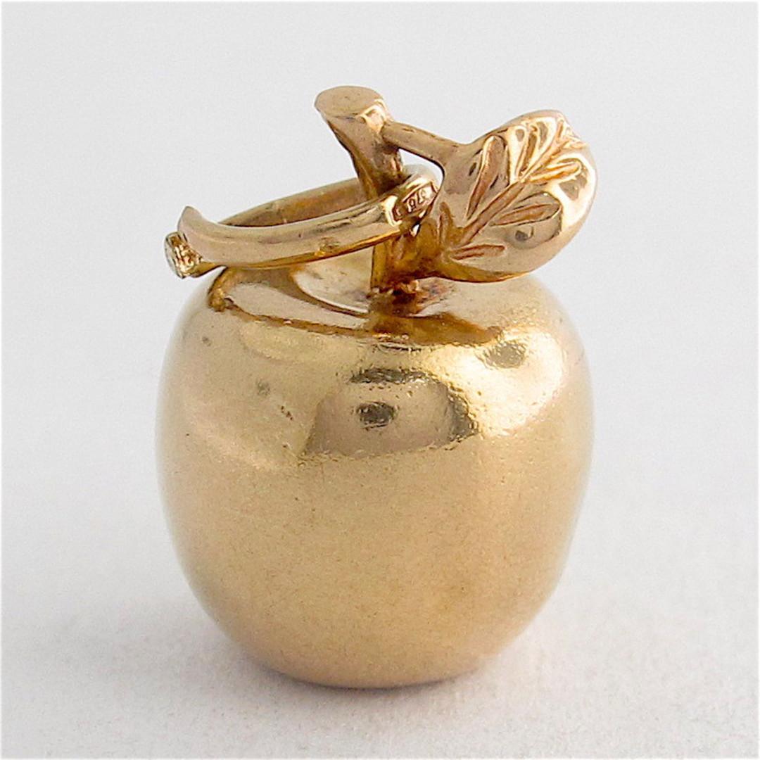 9ct yellow gold apple charm image 0