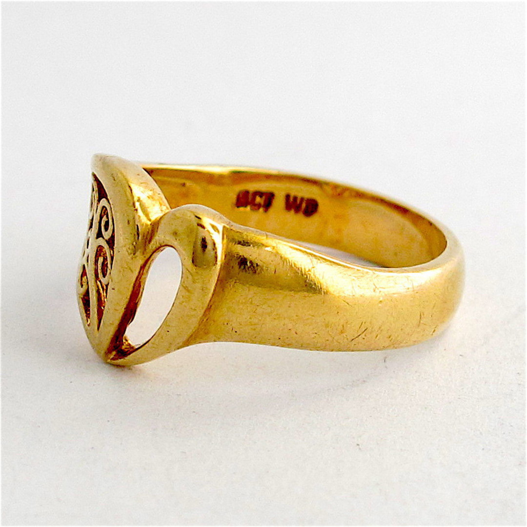 9ct yellow gold fancy heart dress ring image 1