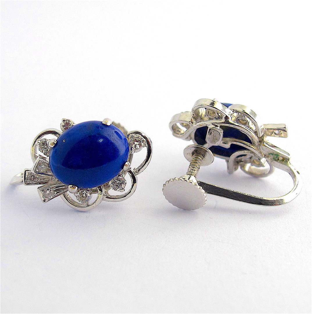 18ct white gold lapis lazuli & diamond 'screw on' earrings image 1