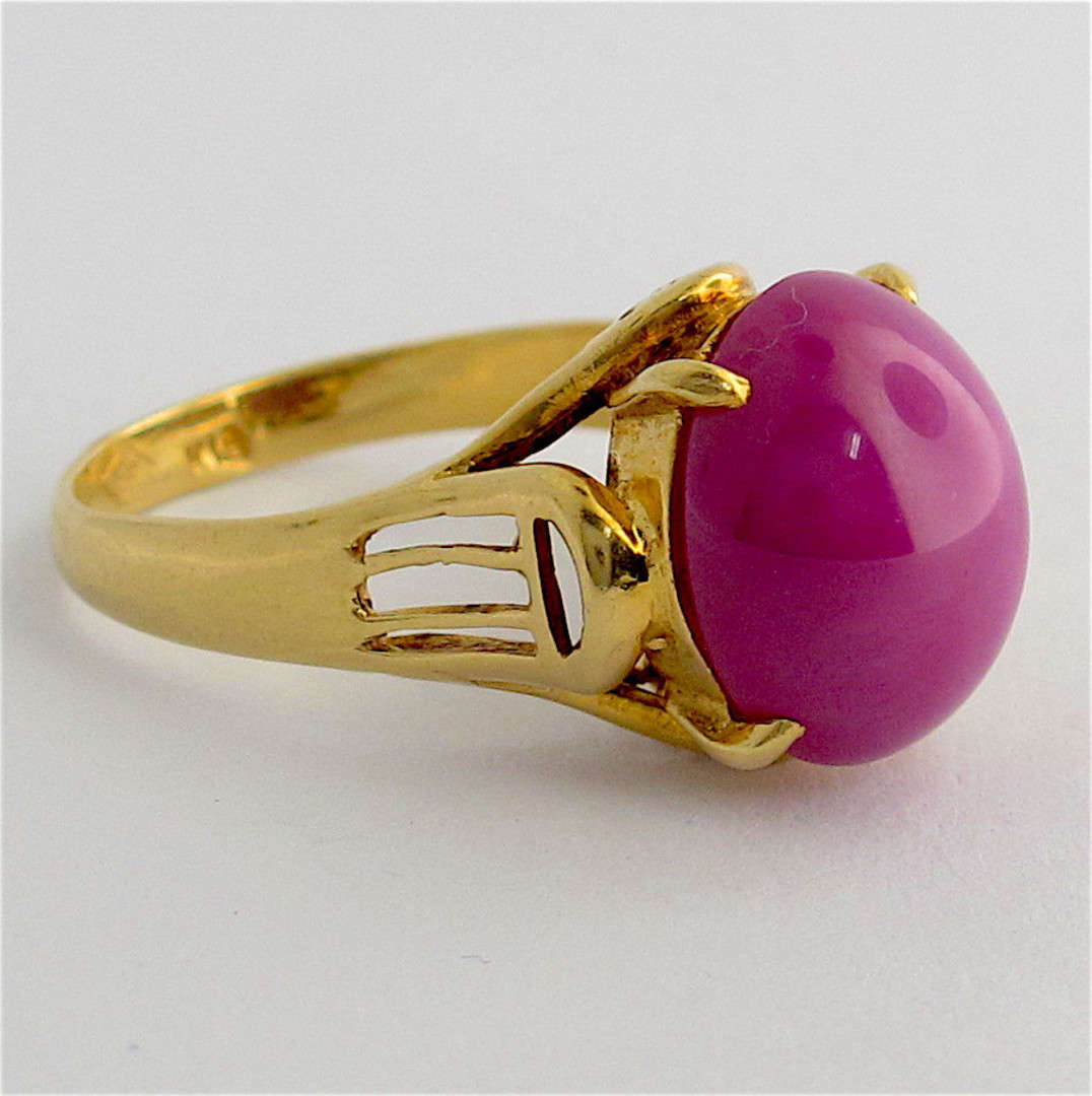 18ct yellow gold and synthetic star ruby dress ring image 1