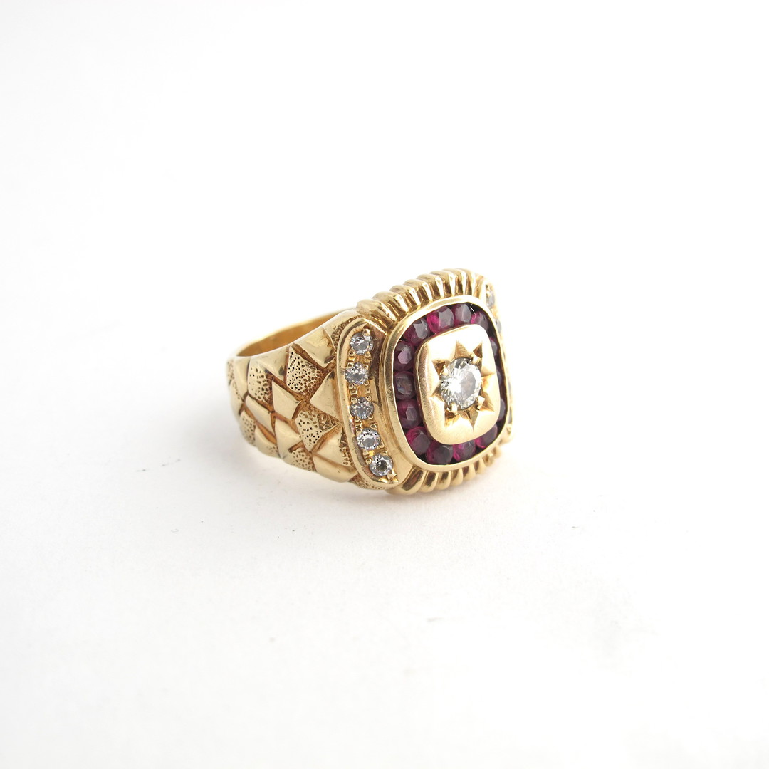Men's 14ct yellow gold diamond and ruby and cubic zirconia set signet ring image 1