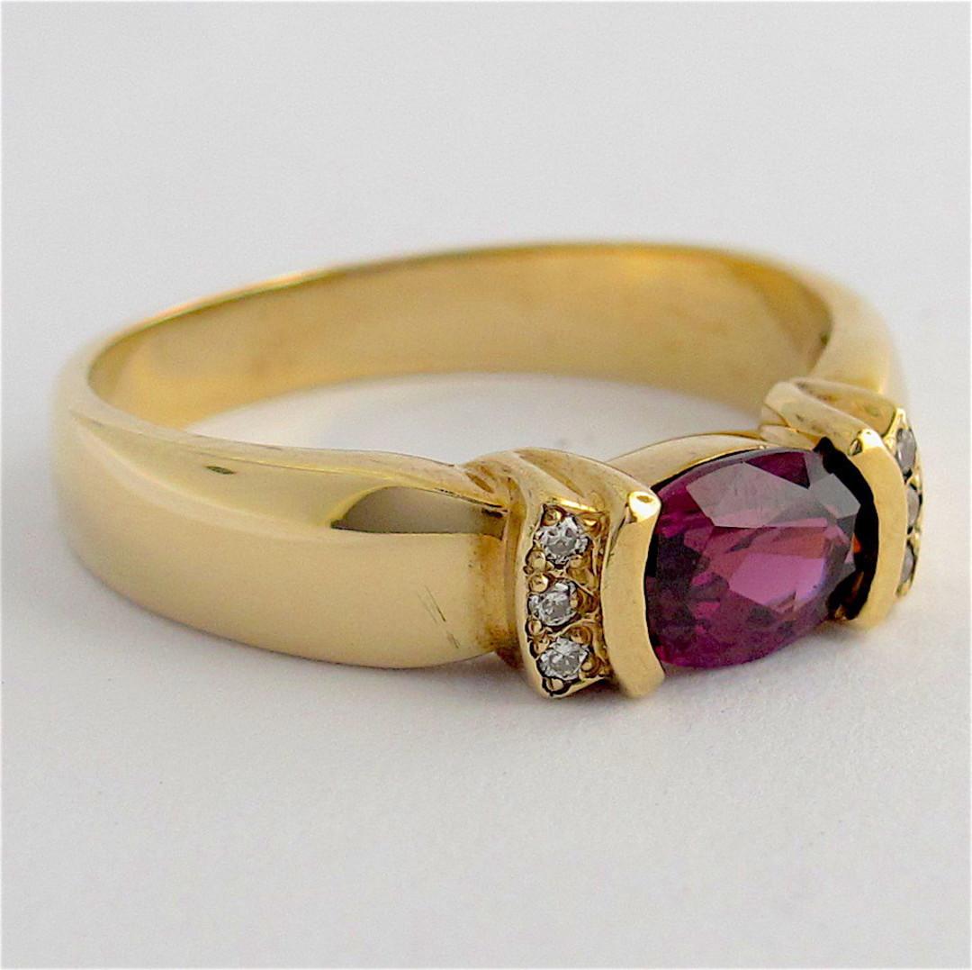 9ct yellow gold amethyst and diamond dress ring image 1