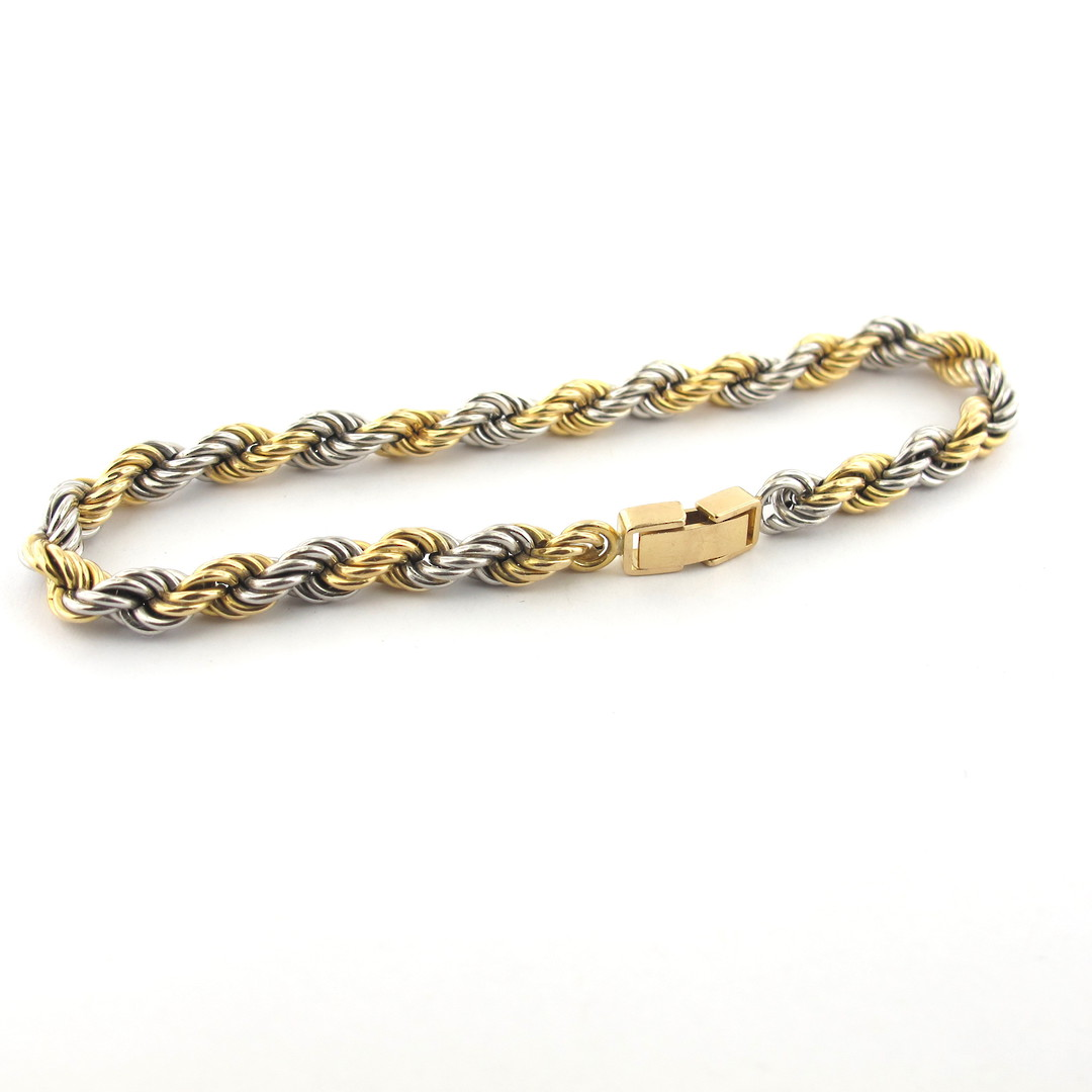 18ct yellow gold and platinum twist bracelet image 1