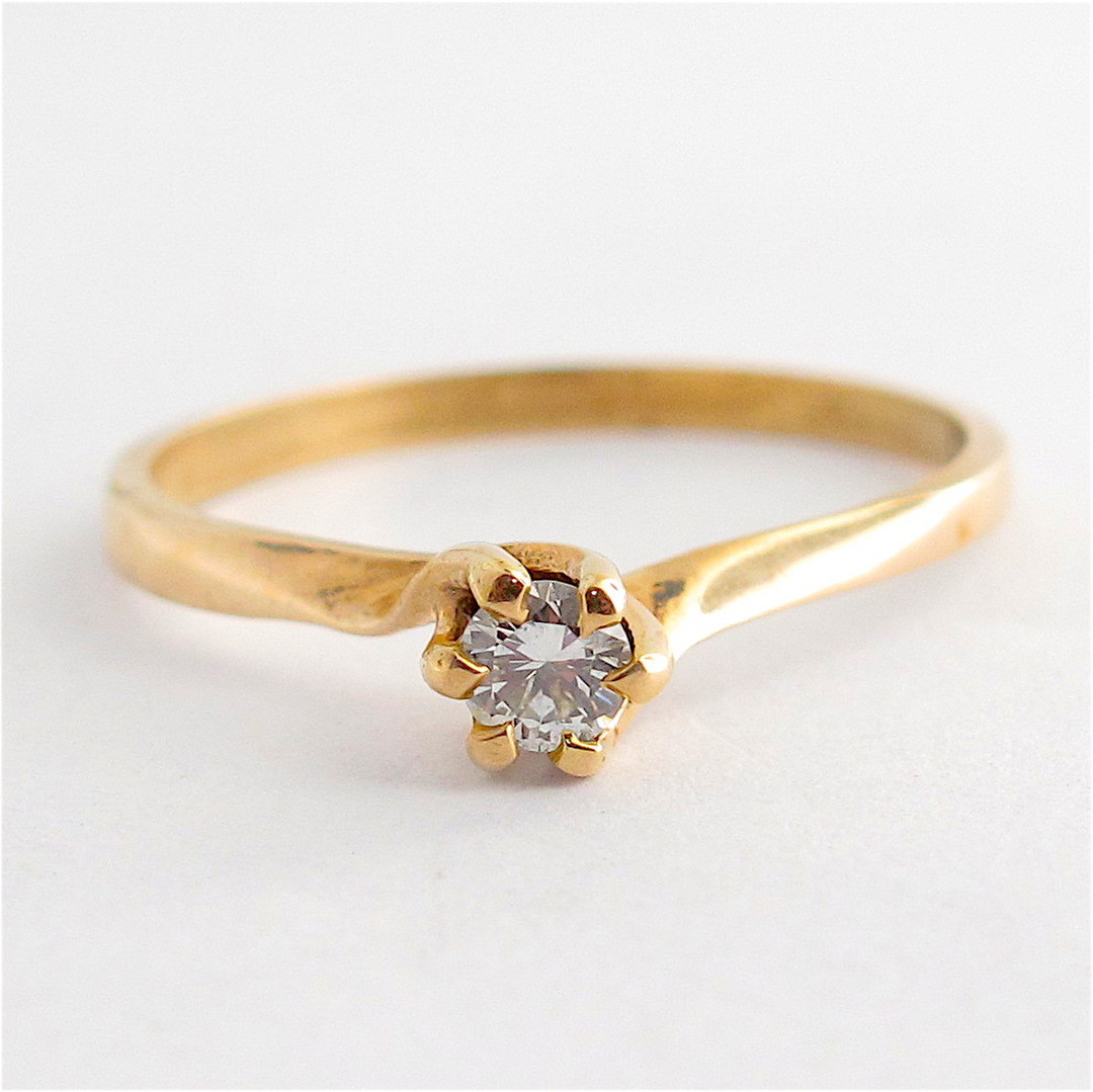 9ct yellow gold diamond solitaire dress ring image 0