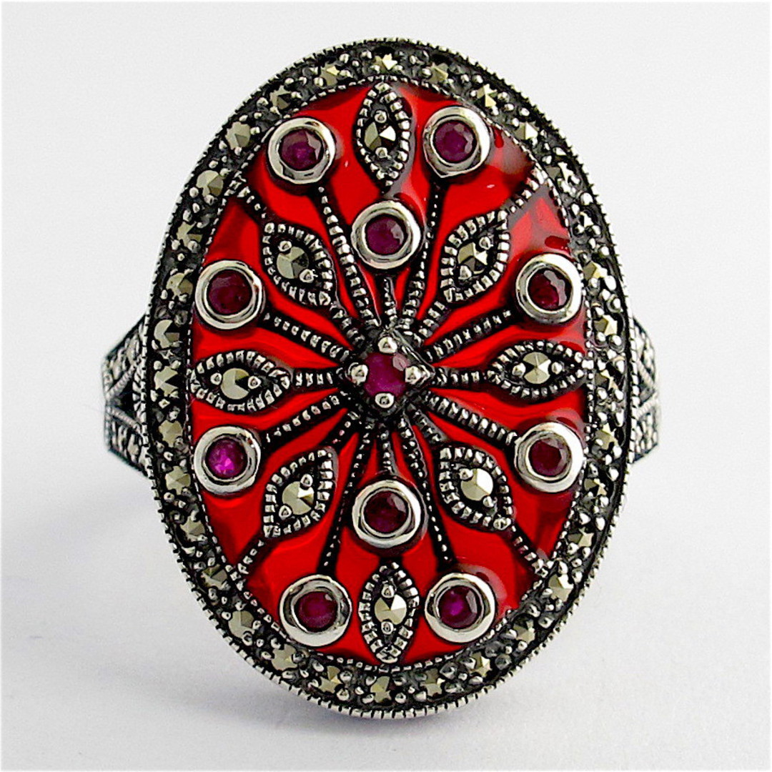 Sterling silver ruby and red enamel and marcasite ring image 0