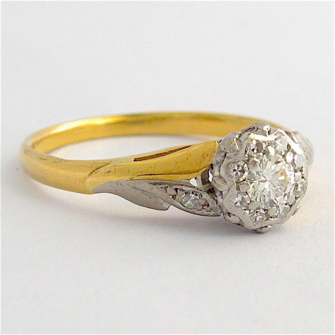 18ct yellow gold & platinum diamond solitaire ring image 1