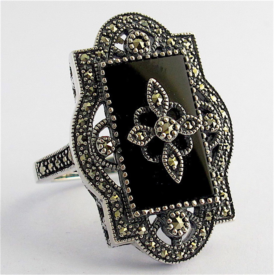 Sterling silver onyx and marcasite dress ring image 1