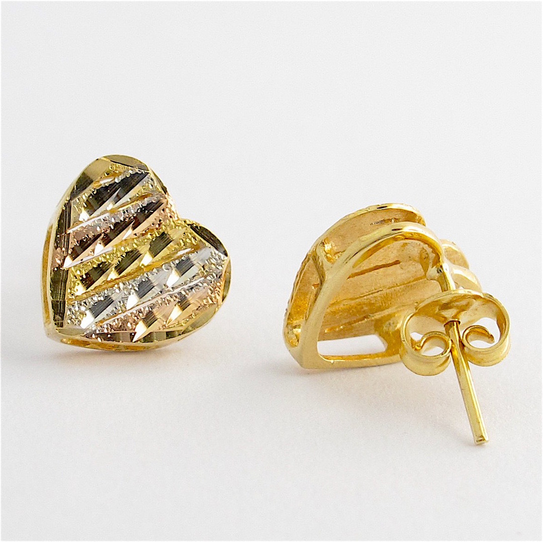 18ct tri-tonal heart shaped stud earrings image 1