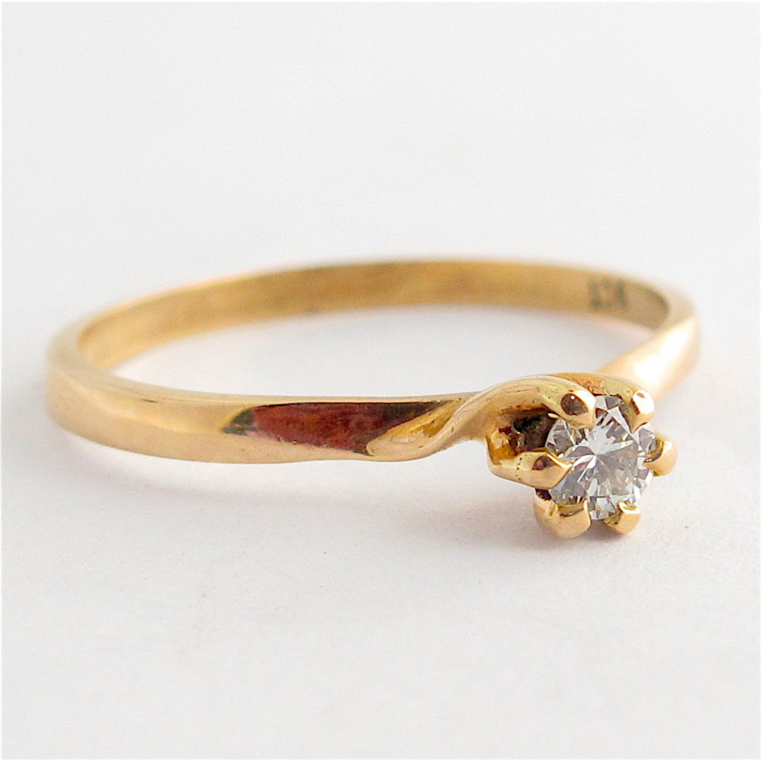 9ct yellow gold diamond solitaire dress ring image 1