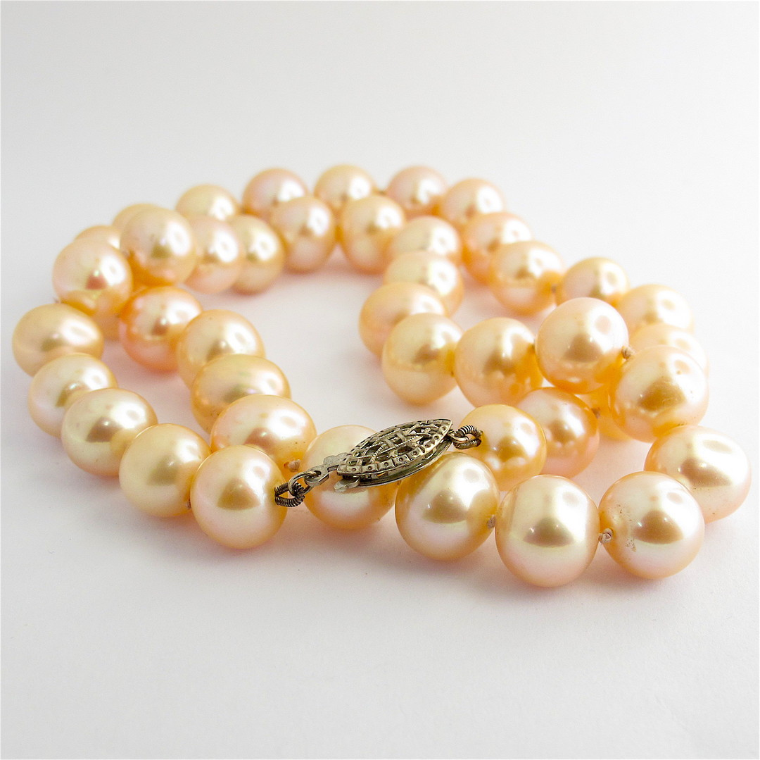 Coral/pink freshwater pearl necklace with sterling silver clasp image 0