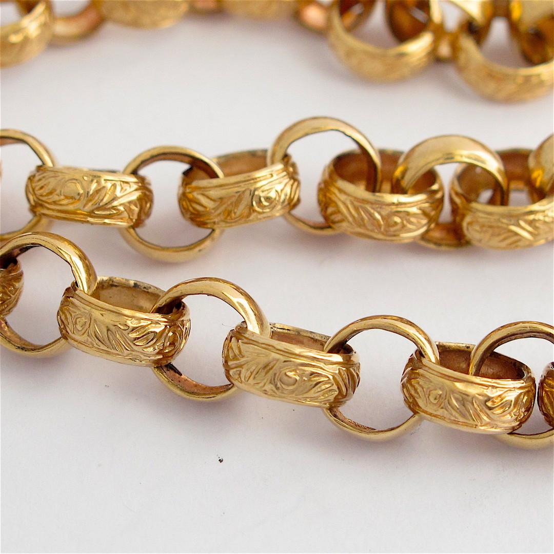 9ct rose gold vintage engraved belcher link necklace with heart padlock image 1
