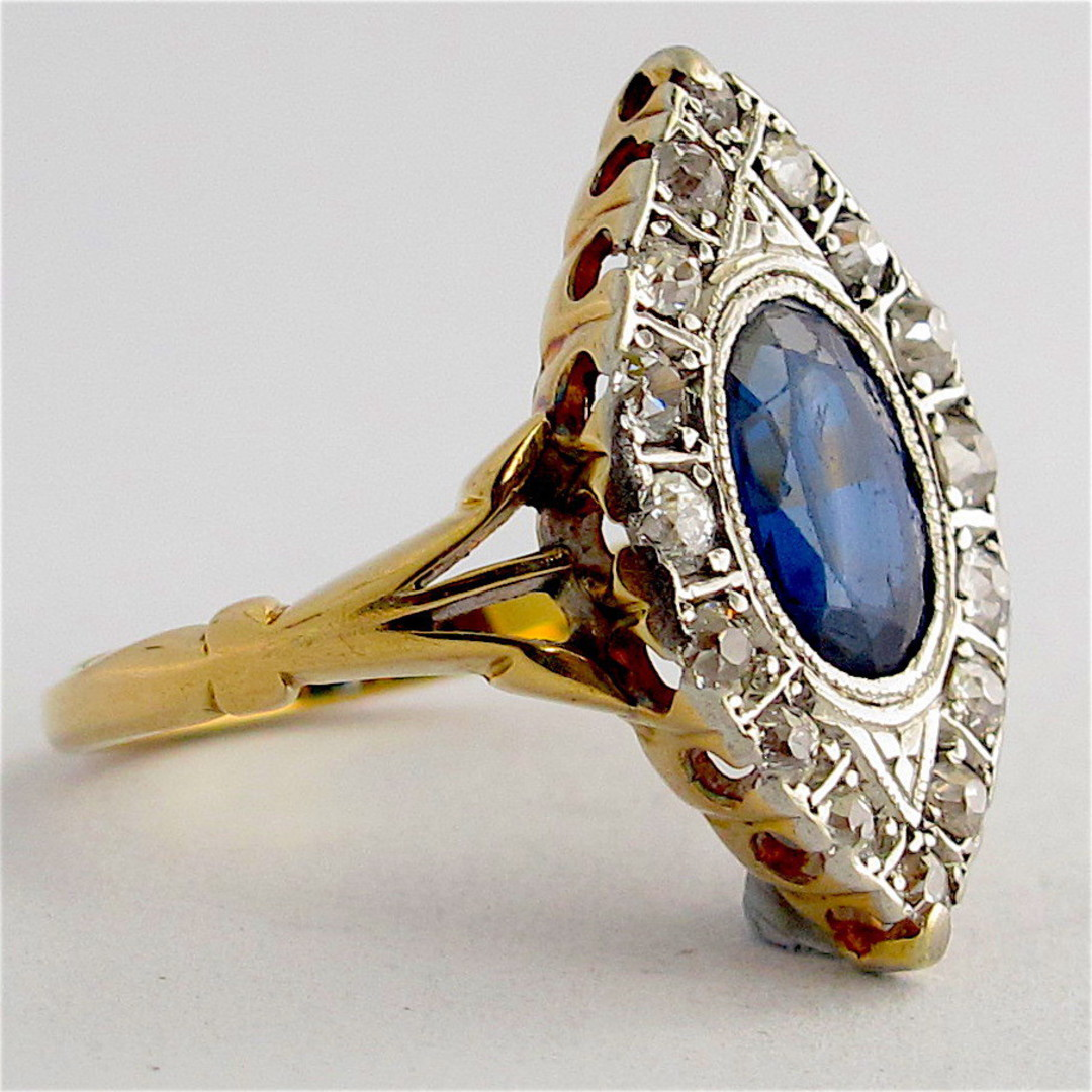 18ct yellow gold and platinum art deco sapphire and diamond ring image 1