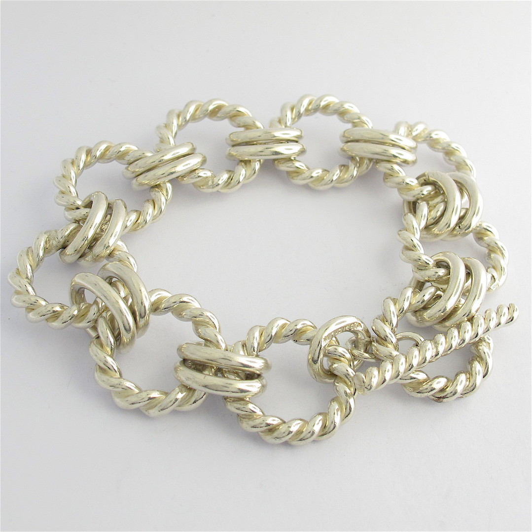Sterling silver heavy toggle clasp bracelet image 0