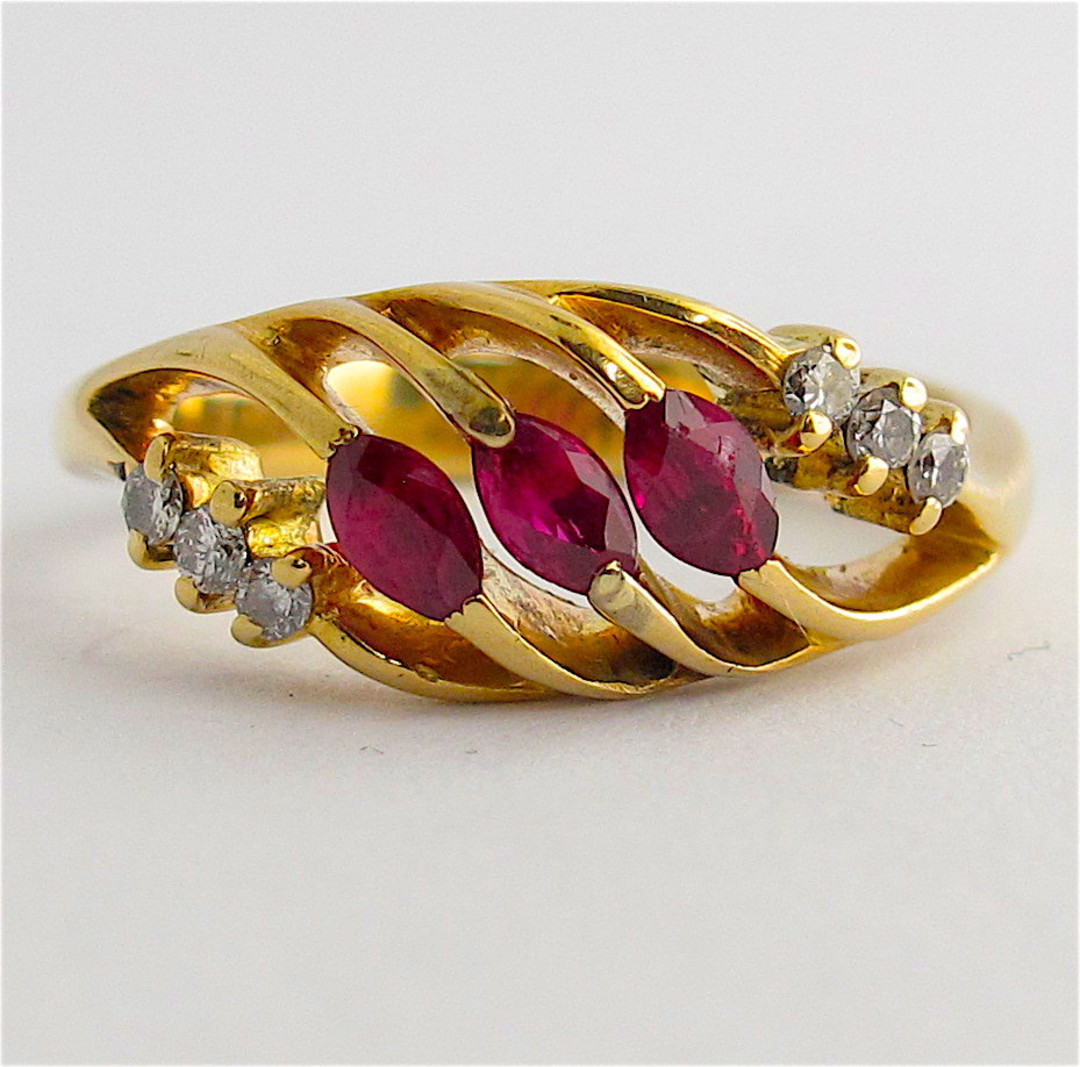 18ct yellow gold natural ruby and diamond dress ring image 0