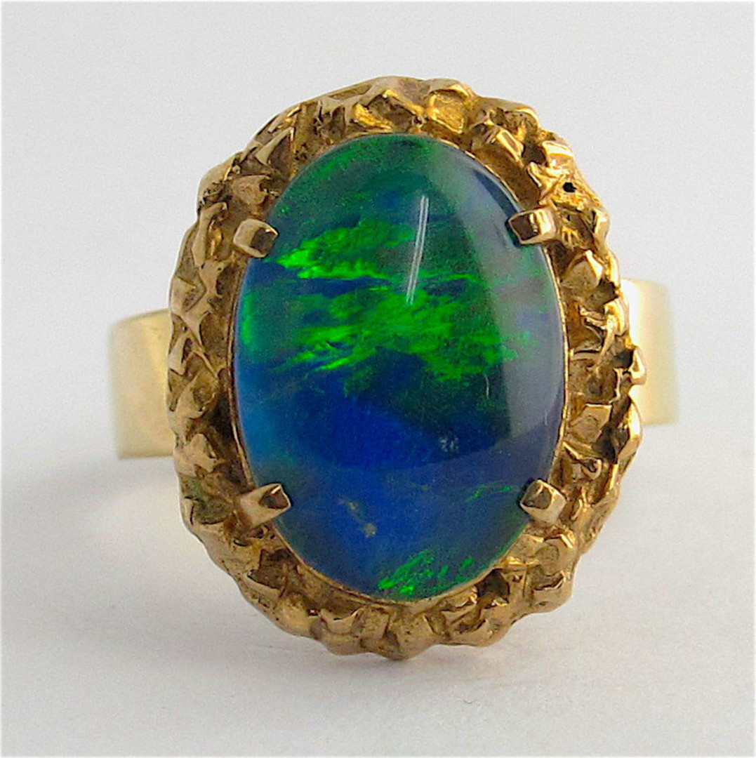 9ct yellow gold opal triplet ring image 1