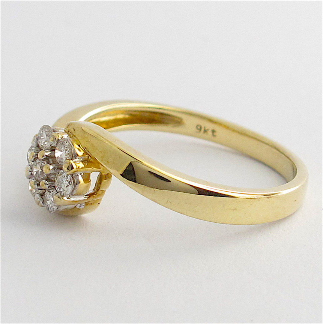 9ct yellow gold diamond cluster style ring image 2