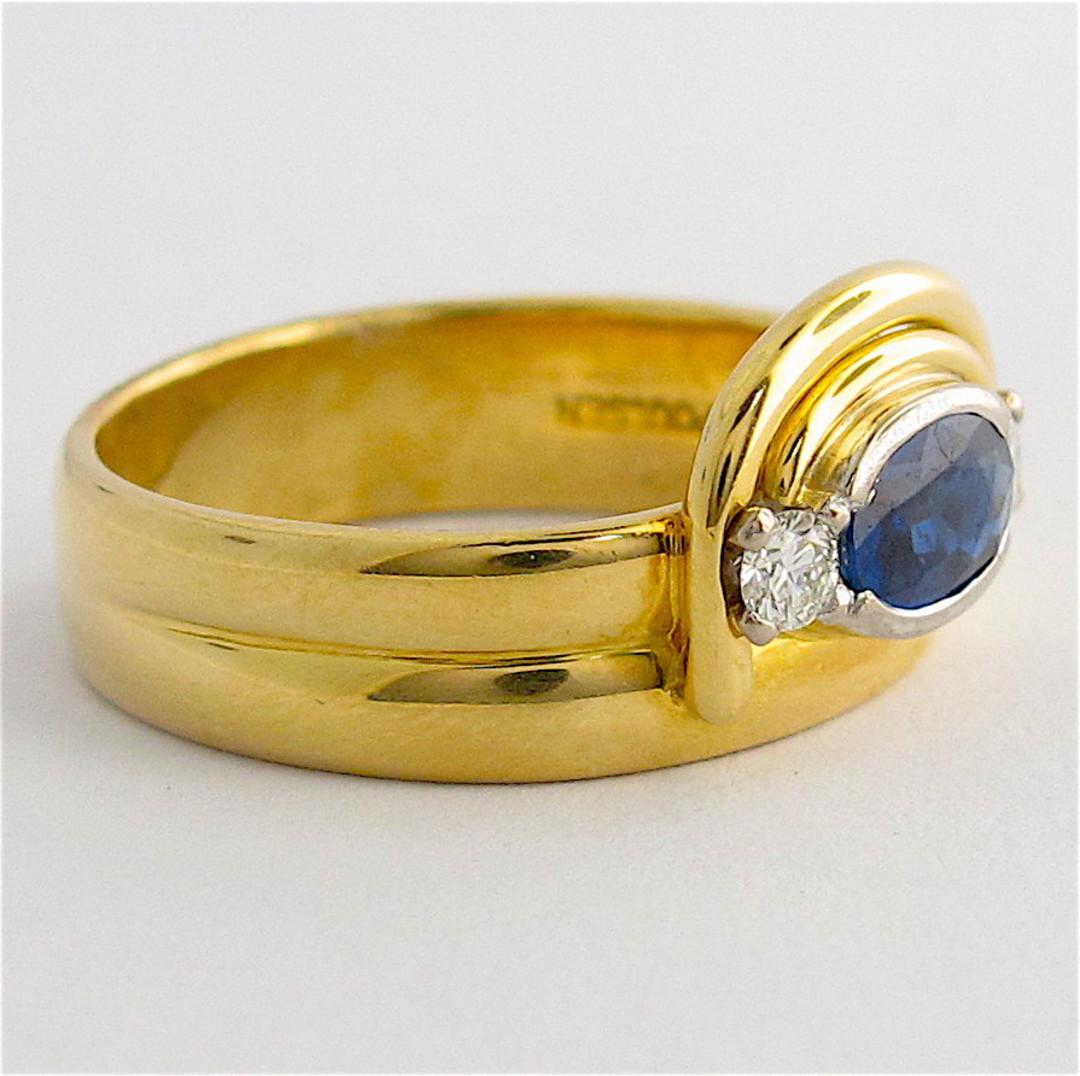 18ct yellow gold ceylonese sapphire & diamond ring image 1