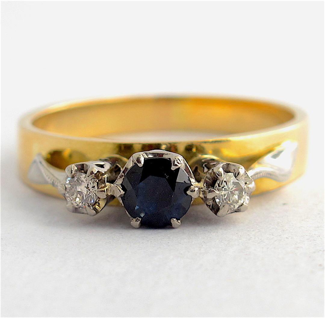 18ct yellow & white gold sapphire and diamond 3 stone ring image 0