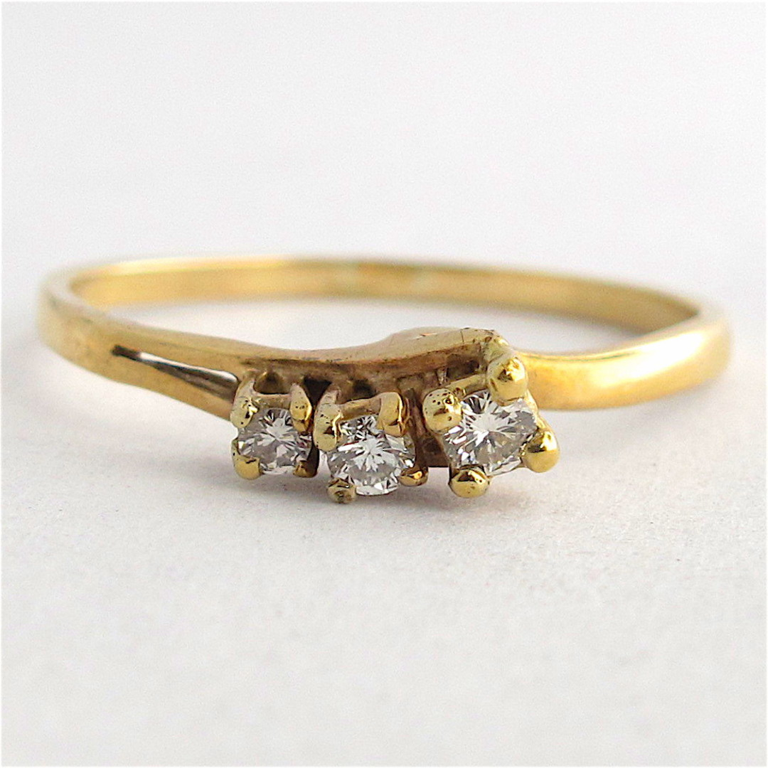 9ct yellow gold 3 stone diamond dress ring image 0