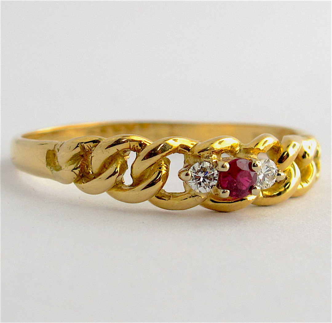 18ct yellow gold vintage ruby and diamond ring image 0