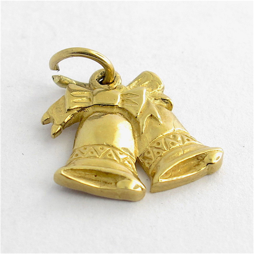 9ct yellow gold double bells charm image 0