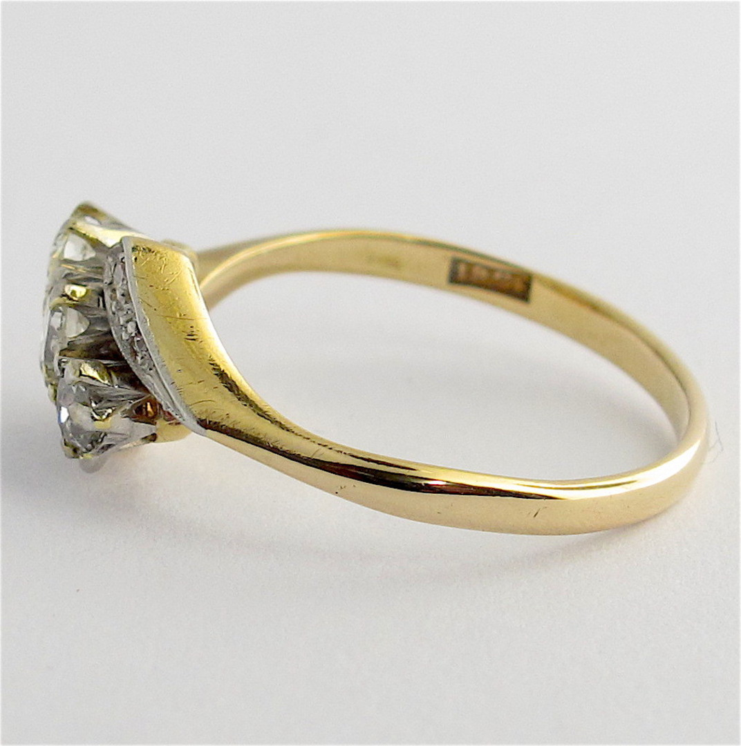 18ct yellow and white gold vintage three diamond set ring image 2
