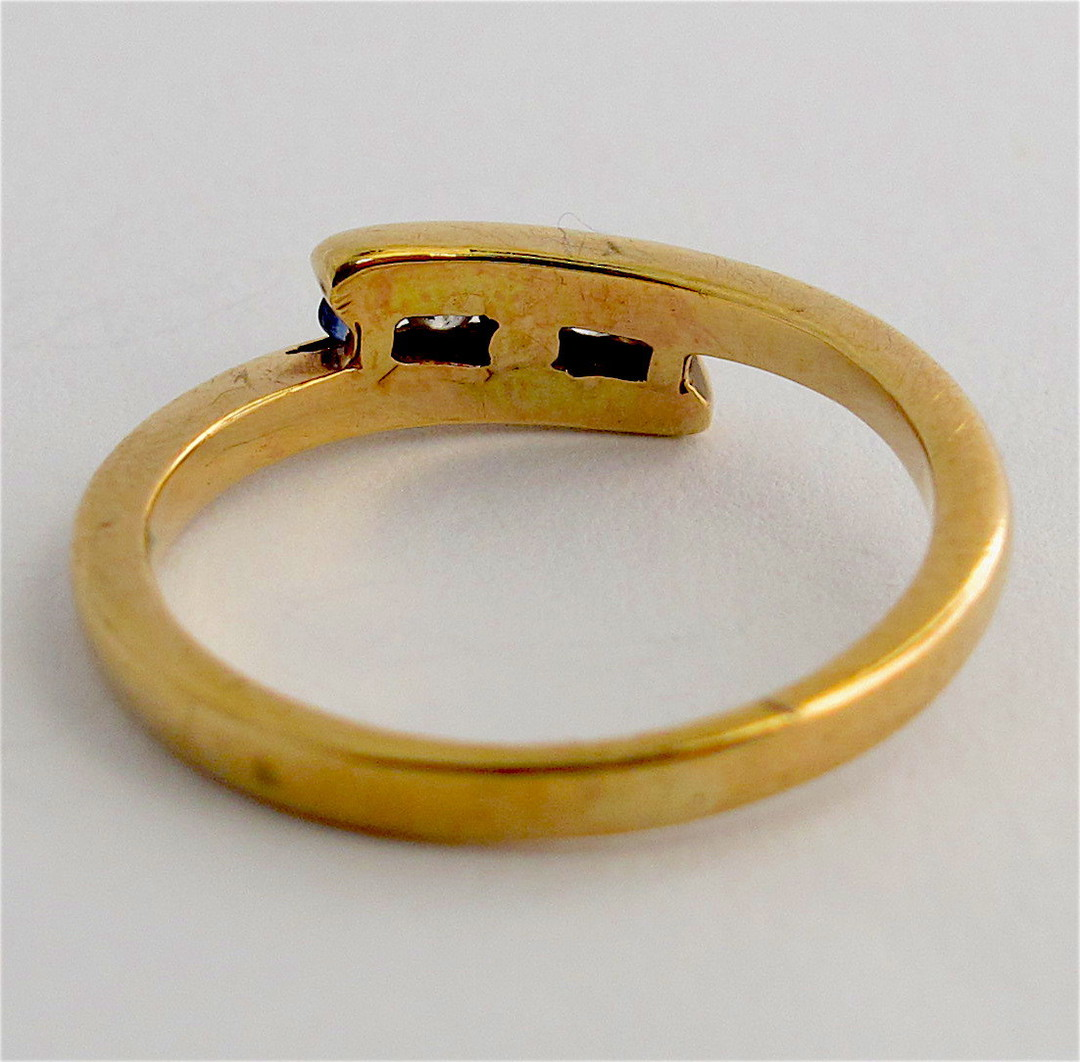 9ct yellow gold sapphire and diamond ring image 1
