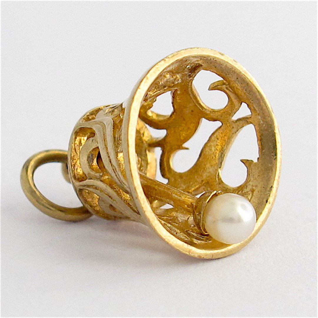 9ct yellow gold and pearl bell charm image 1