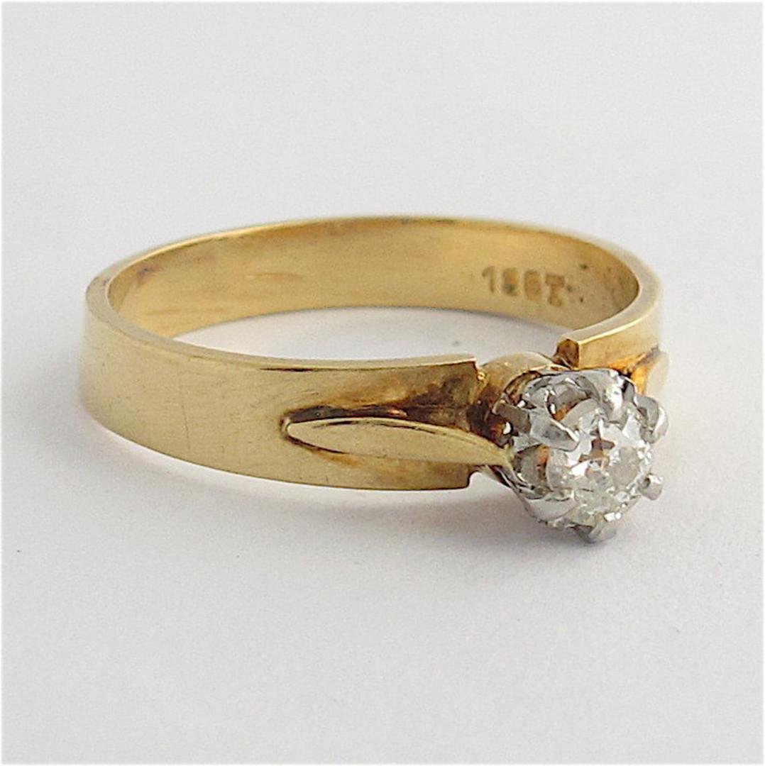 18ct yellow gold/platinum diamond solitaire ring image 0