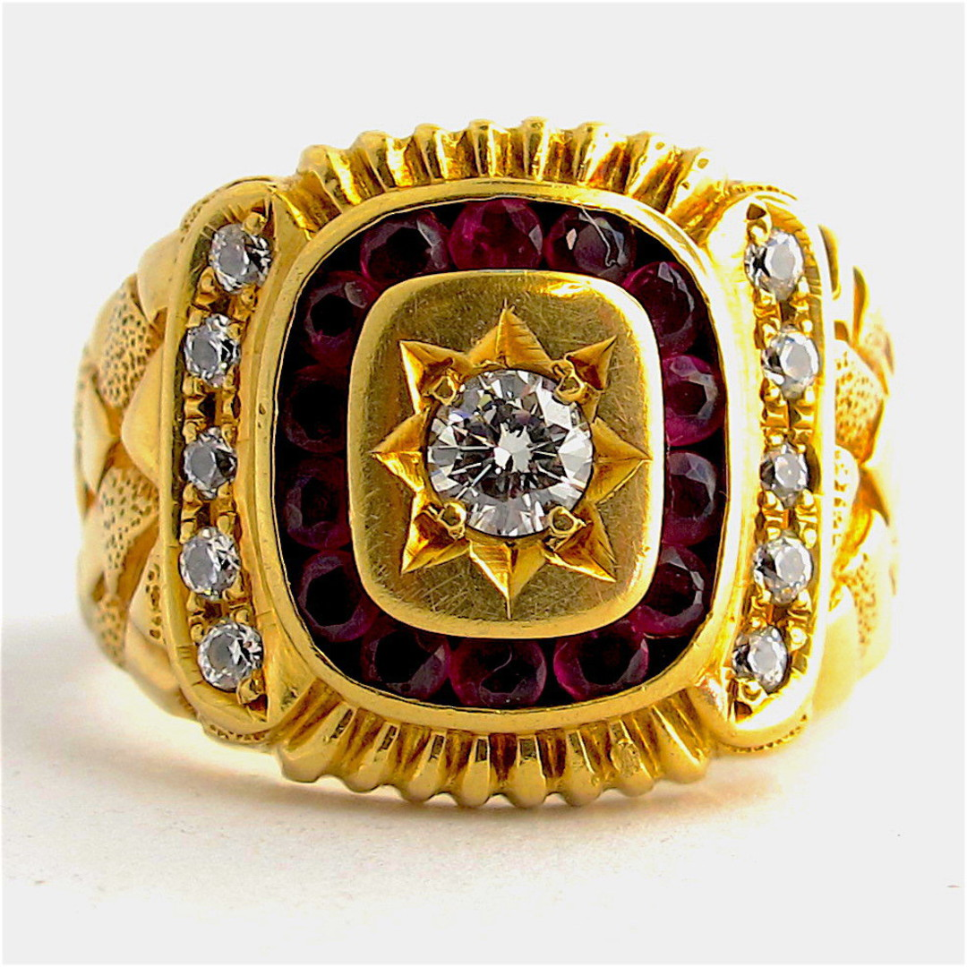 Men's 14ct yellow gold diamond and ruby and cubic zirconia set signet ring image 0
