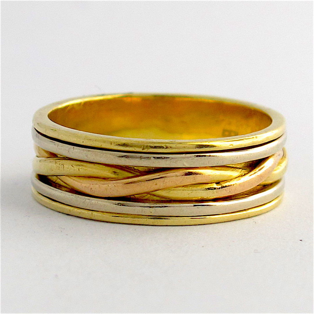 18ct tri-tonal gold wide band image 0