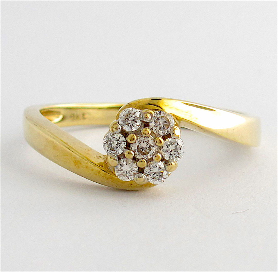 9ct yellow gold diamond cluster style ring image 0