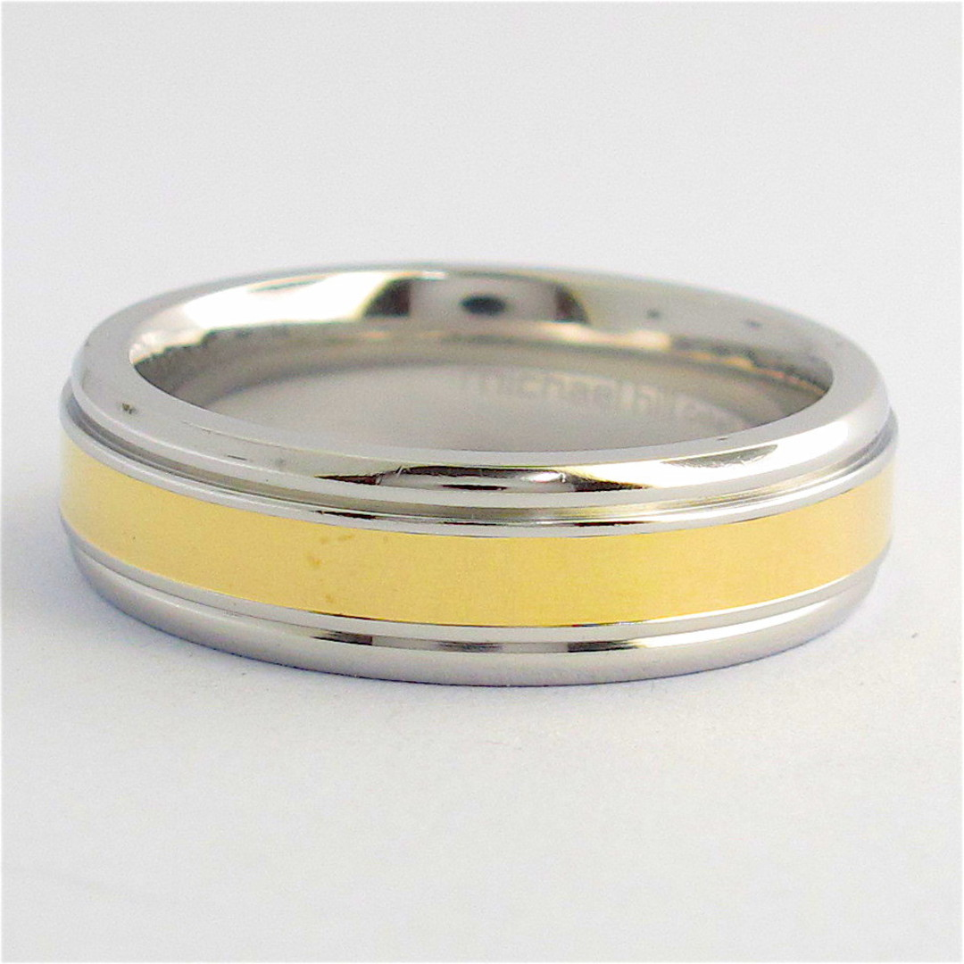 14ct yellow gold and stainless steel band image 0