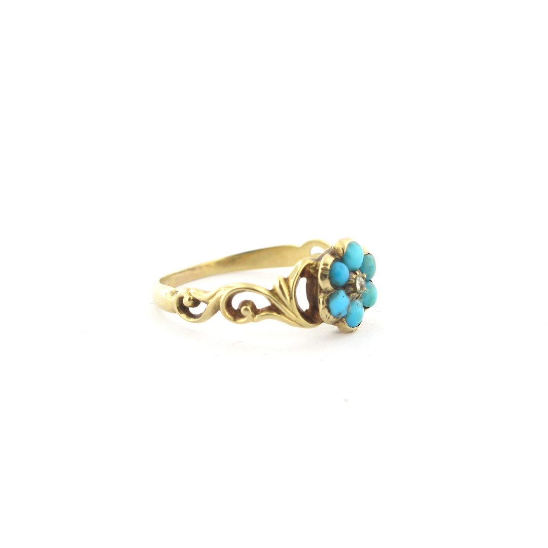 18ct antique yellow gold turquoise flower style ring image 1