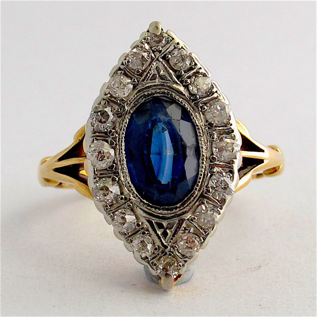 18ct yellow gold and platinum art deco sapphire and diamond ring image 0