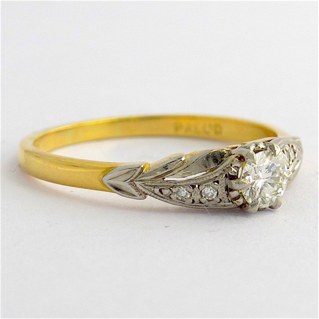 18ct yellow gold/platinum and palladium vintage diamond solitaire ring image 1